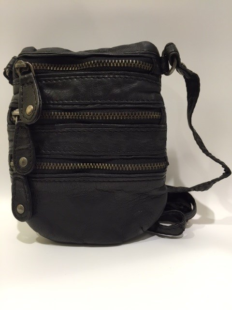 Depeche Taske 3 Zipper Black Leather