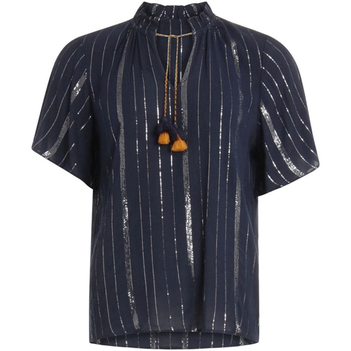 Coster Copenhagen Top Lurex Stripes Dark Blue