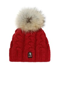 Parajumpers Cable Hat Real Fur Crimson Tide HA11 ONE SIZE