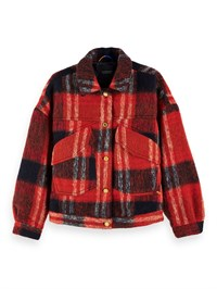 Maison Scotch Oversized Woolen Trucker Production Jacket in Check