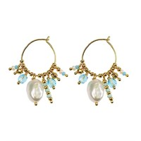 Hultquist Pearls and Blue Stones Øreringe Guld